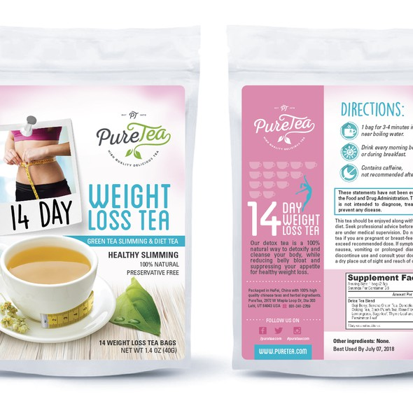 Green tea packaging with the title 'Detox Tea'