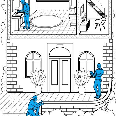 Building Inspection. Illustrations for mobile platforms.
