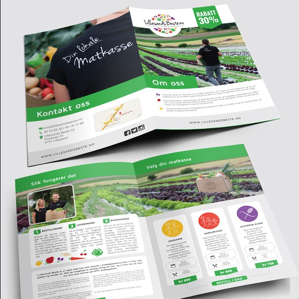 White and green design with the title 'Bifold brochure for LillesandBeste'