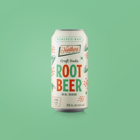 Soda can design with the title 'Retro soda label'