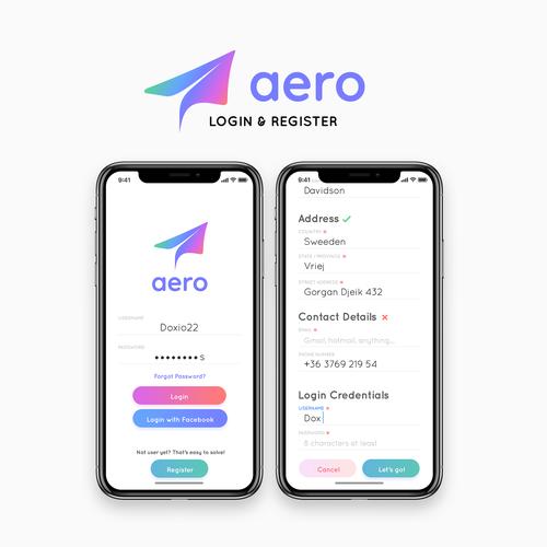 Login design with the title 'Aero App Concept - Login & Register'