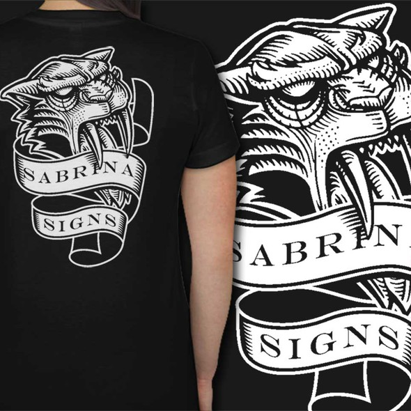 Tiger t-shirt with the title 'saber tooth handdraw'