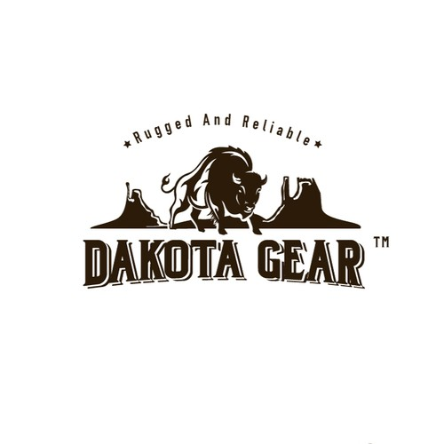 "Buffalo design with the title 'Logo design for ""Dakota Gear""'"