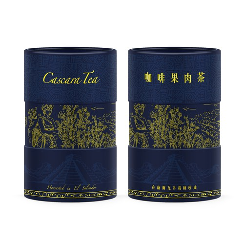 Tea packaging with the title 'Product packaging for Cascara Tea'