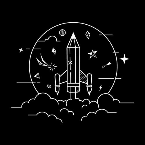 Star t-shirt with the title 'Rocket Pencil'
