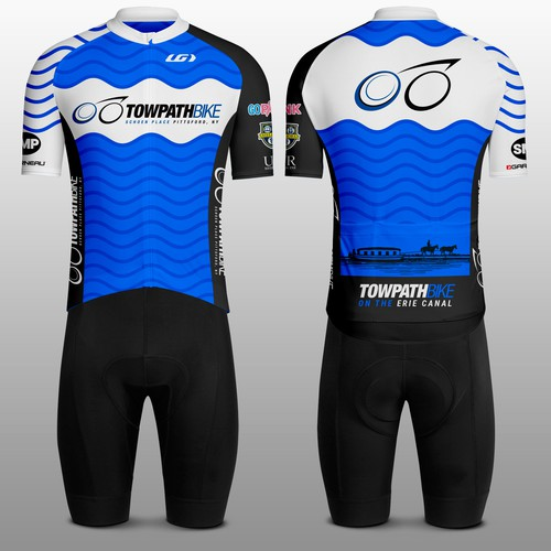 Cycling design with the title 'Towpath Bike Jersey'
