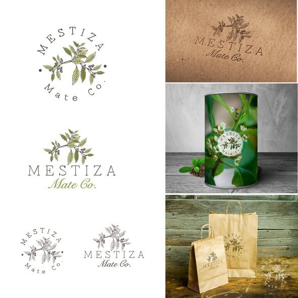 Green tea logo with the title 'Mate Tea'