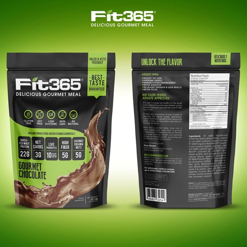 Drink packaging with the title 'Create New Packing for Top Protein Shake Supplement Brand FIT 365'