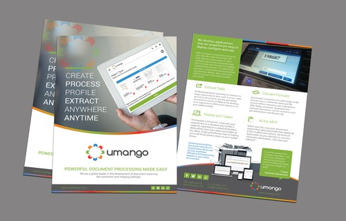 Print design with the title 'Design us an engaging brochure for our software applications'