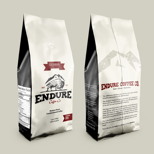 Rugged design with the title 'Bold, Driven, Relentless. Cofee Bag Packaging Design for Endure Coffee Co.'
