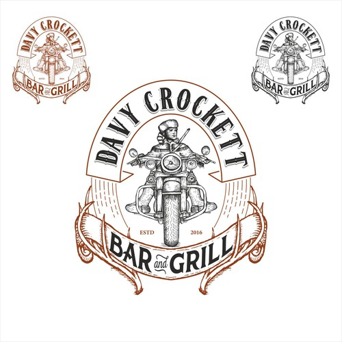 Old school logo with the title 'Davy Crocket bar & grill logo'