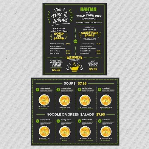 Cuisine design with the title 'Menu Board Design for RAH'MN'