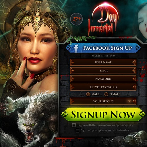 Blood design with the title 'Create a high conversion landing page for a Vampire-based Online Game'