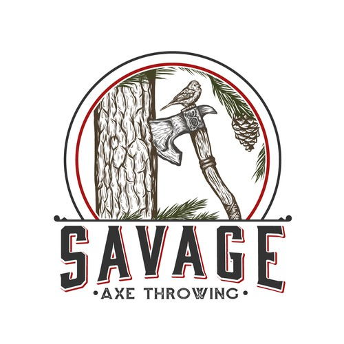 Guardian logo with the title 'logo for a recreational axe throwing range'