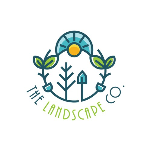 Sun and tree logo with the title 'The Landscape Co'