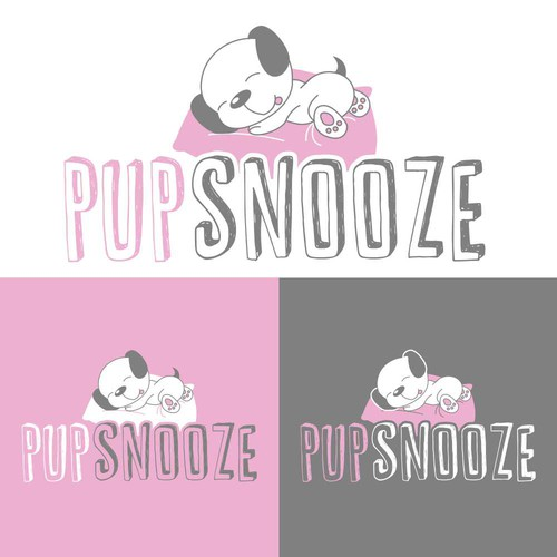Bed logo with the title 'Puppysnooze Logo Design'