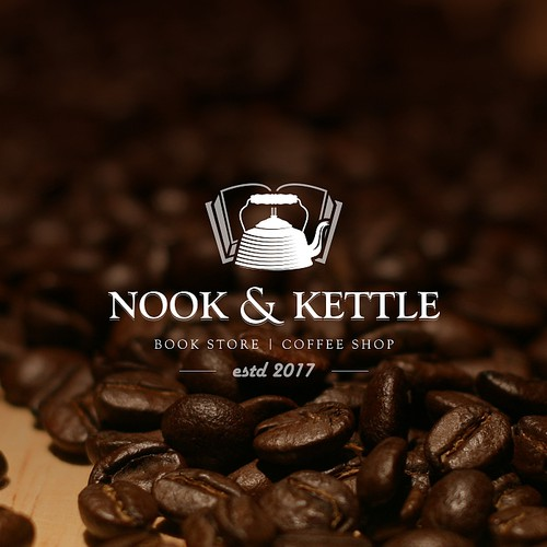 Novel logo with the title 'Nook and Kettle'