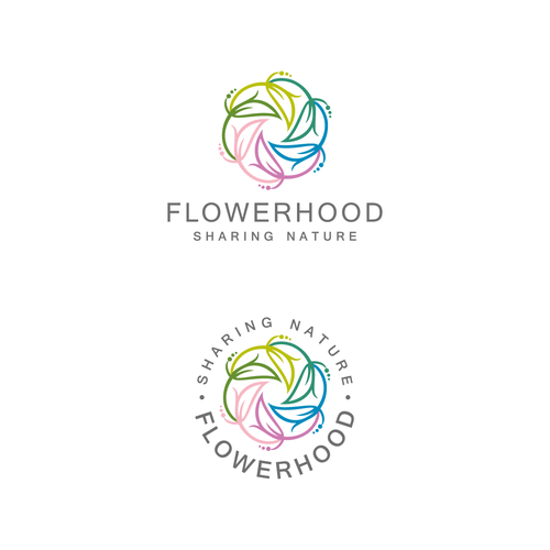 Flower design with the title 'Flowerhood logo'
