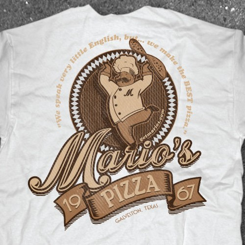 Restaurant t-shirt with the title 'Vintage Shirt design for Pizza Shop'