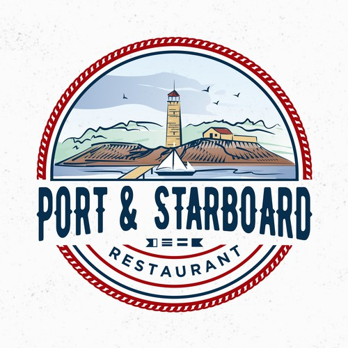 Marina logo with the title 'Port & Starboard restaurant'