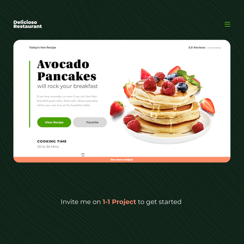 Recipe design with the title 'Food Restaurant homepage and ui exploration'