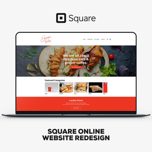 Red design with the title 'Square Online Website Redesign For Espresso Bros.'