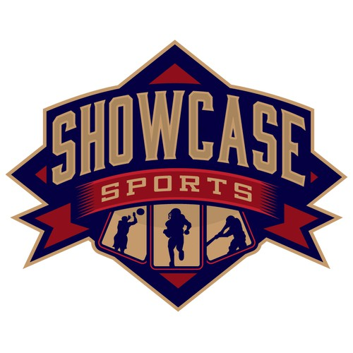 Baseball design with the title 'showcase sports logo'