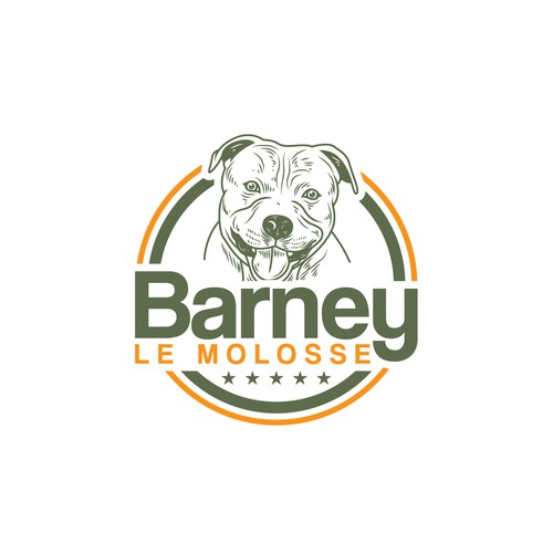 Dog food logo with the title 'Barney le molosse'