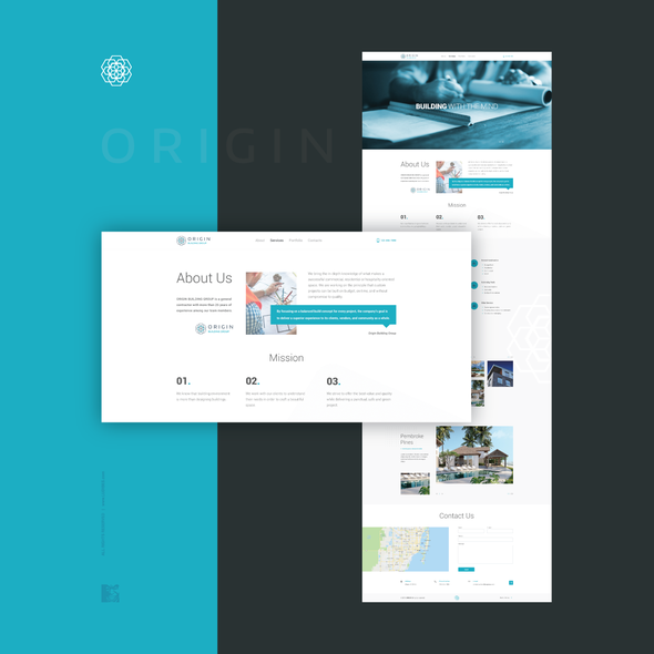 Flat website with the title 'Website redesign'