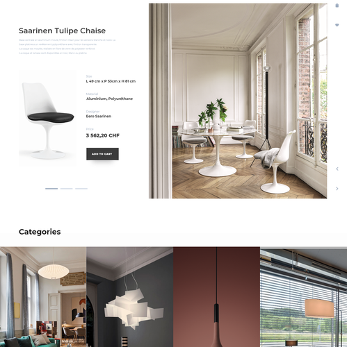 Eshop design with the title 'Furniture and lighting boutique design concept'