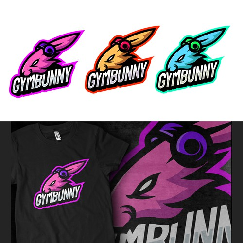 Team t-shirt with the title 'GUMBUNNY E-Sport Team Logo Design'