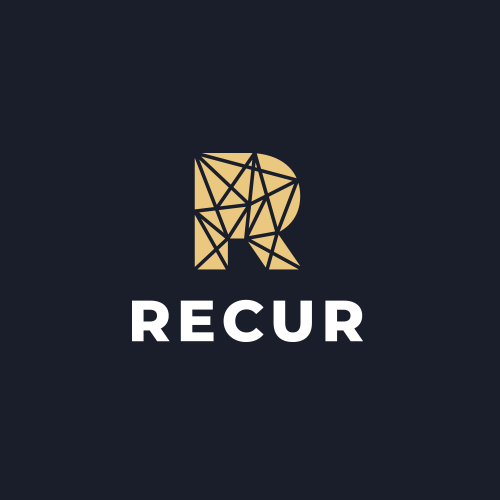 Cryptocurrency logo with the title 'RECUR'