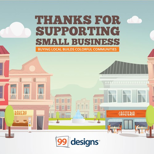 People artwork with the title 'Design a fun, happy illustration of a small town for 99designs!'