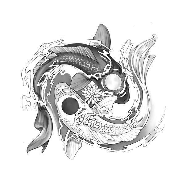 Chest design with the title 'Pisces/Yin & Yang Tattoo'