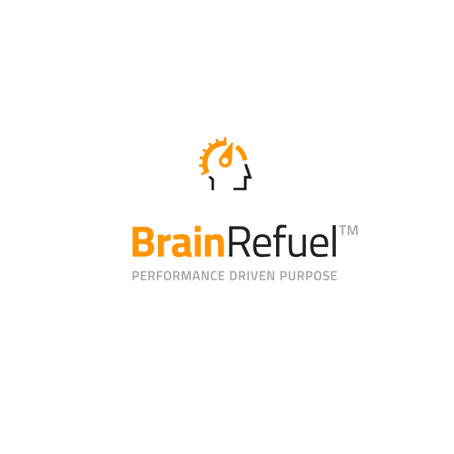 Two-color logo with the title 'BrainRefuel design concept'