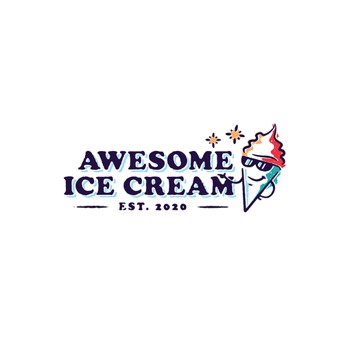 Refreshing design with the title 'Awesome Ice Cream'