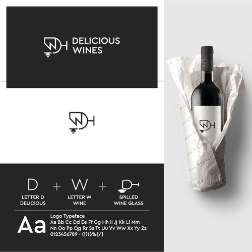 Wine glass logo with the title 'Delicious Wines Logo'