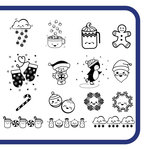 Kawaii illustration with the title 'Nail art stamping plate'