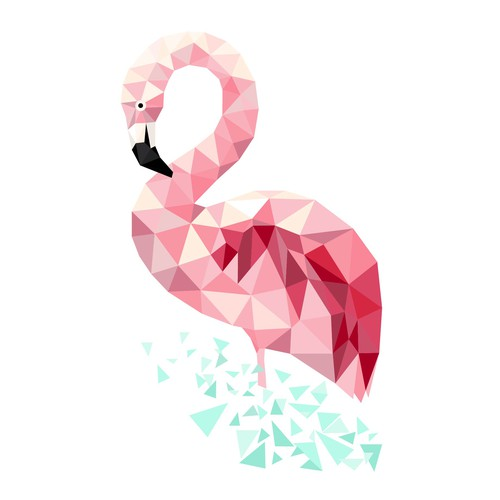 Flamingo design with the title 'Low poly flamingo illustration for web site'
