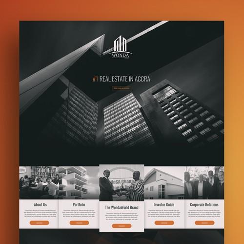 Architecture website with the title 'Wonda World Web Design'