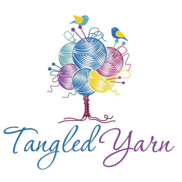 Wool logo with the title 'Tangled Yarn - Cute Tree Logo'