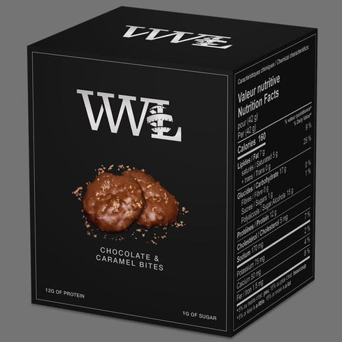 Silver foil packaging with the title 'Chocolate & Caramel Bites'