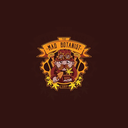 Steampunk logo with the title 'The Mad Botanist'
