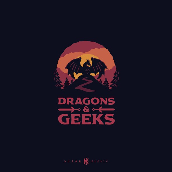 Adventure design with the title 'Dragons & Geeks'