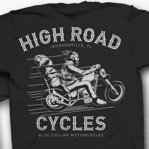 Biker design with the title 'High Road Cycles (HRC)'