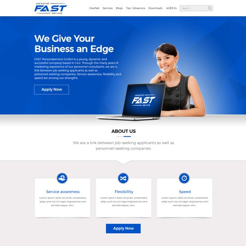 Corporate website with the title 'Web Design for Business & Consulting Company'