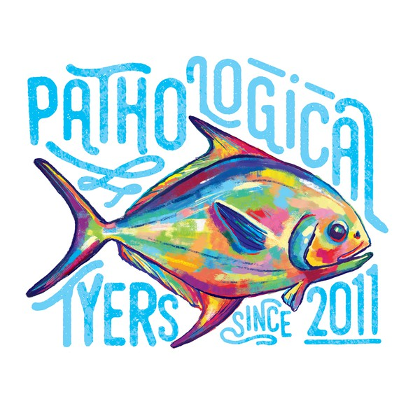Vibrant t-shirt with the title 'Vibrant fish illustration for a t-shirt brand'