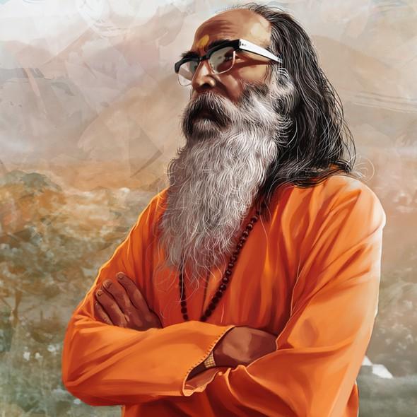 Digital painting artwork with the title 'illustration for Rudraraksha'