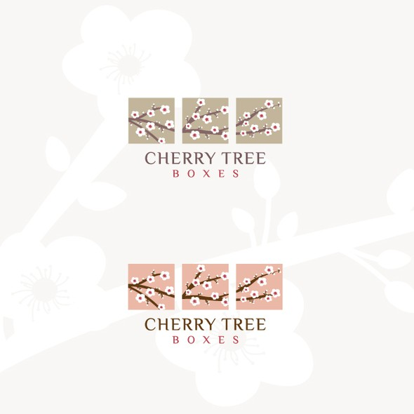 Cherry blossom logo with the title 'Cherry Tree Boxes logo'