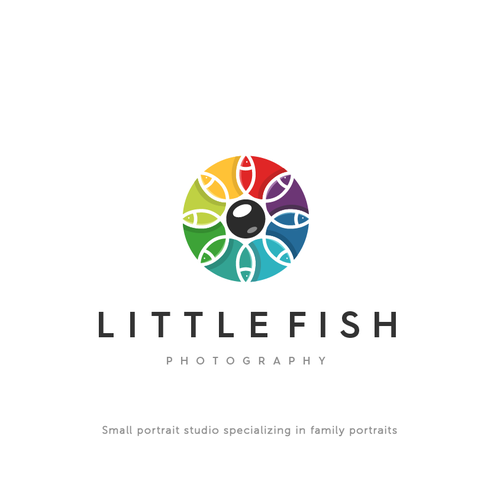 Link design with the title 'colourful logo fot Litttle fish photography'